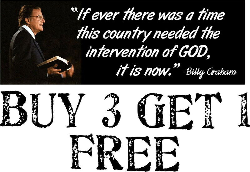 "Billy Graham Intervention of GOD Bumper Sticker 8.7"" x 3"" Sticker Elections GOD - Powercall Sirens LLC"