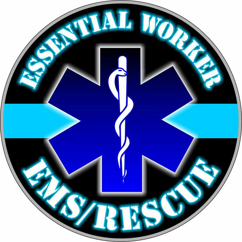 Essential Worker Decal - Police Officer Hardhat/Window Sticker - Various sizes - Powercall Sirens LLC