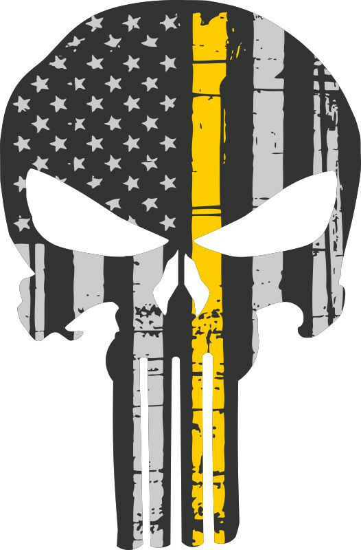 Punisher Skull Decal Yellow Flag Skull Window decal - 3 Sizes Free Shipping - Powercall Sirens LLC