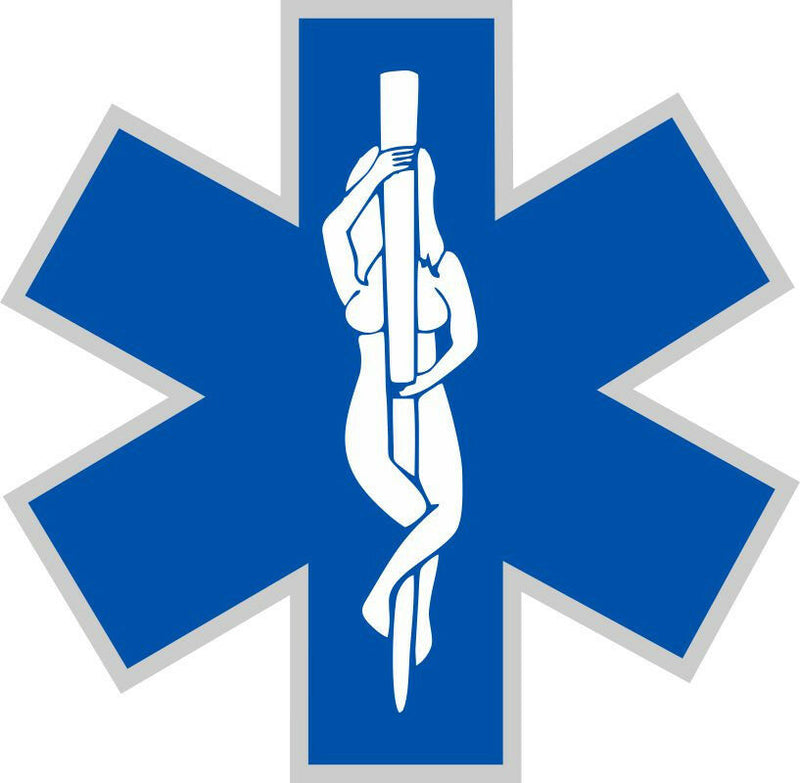 EMS Star with Stripper staff in middle - Powercall Sirens LLC