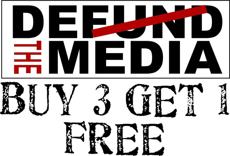 "Defund the Media Bumper Sticker Fake News Decal 8.7"" x 3"" Buy 3 get one free - Powercall Sirens LLC"