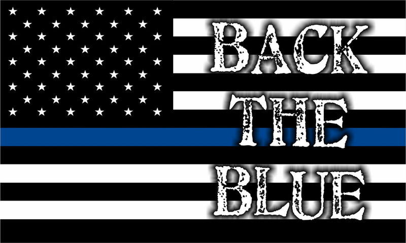 Thin Blue Line Decal - American Flag BACK THE BLUE  free Ship Various Sizes - Powercall Sirens LLC