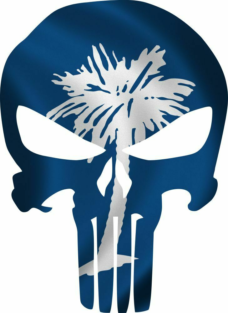 Punisher Decal South Carolina Flag Vinyl Decal - Various Sizes ships free - Powercall Sirens LLC