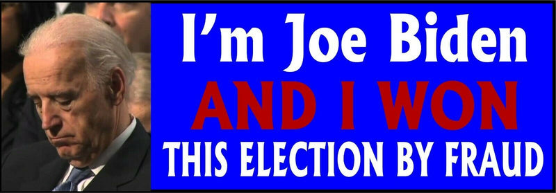 "SLEEPY JOE BUMPER STICKER, WON ELECTION BY FRAUD Bumper Sticker 8.7"" x 3"" - Powercall Sirens LLC"