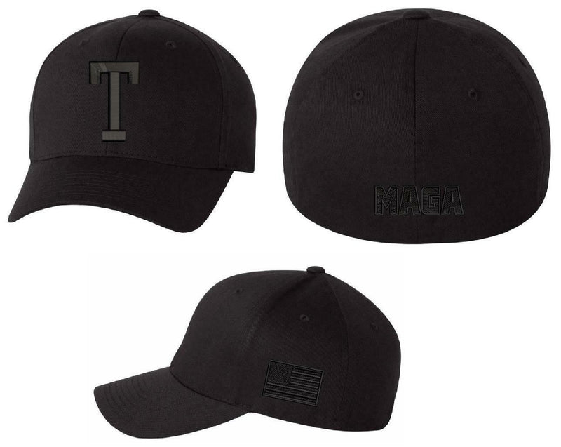 "Donald Trump Hat - BLACK ""T"" Hat with backside MAGA and Side BLACK USA Flag - Powercall Sirens LLC"