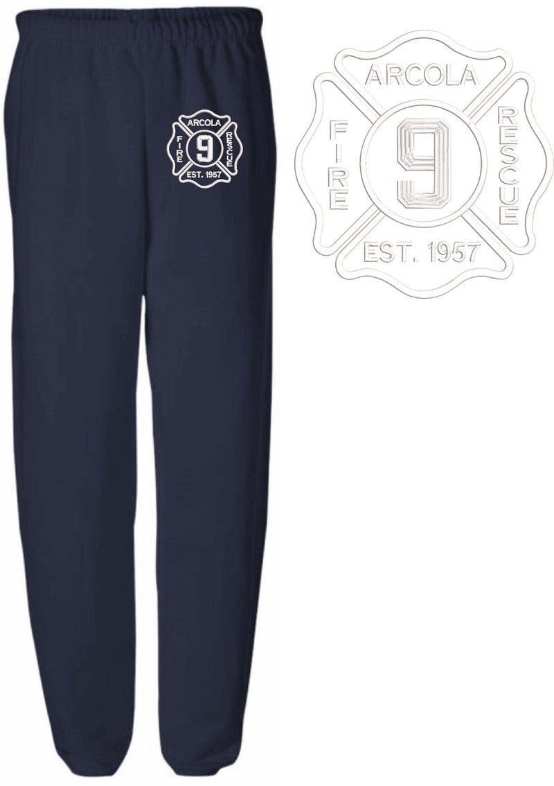 Arcola Vol. Fire & Rescue Embroidered Sweatpants - Powercall Sirens LLC