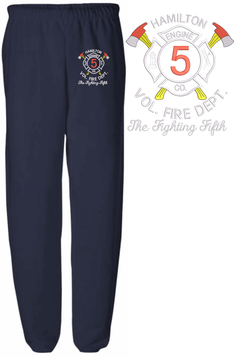 Hamilton Vol. Fire Dept Embroidered Sweatpants - Powercall Sirens LLC