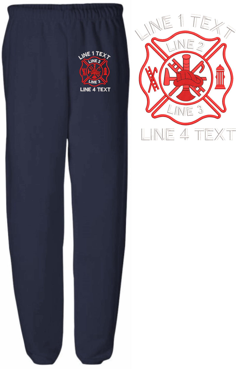 Basic Maltese Cross Embroidered Sweatpants - Powercall Sirens LLC
