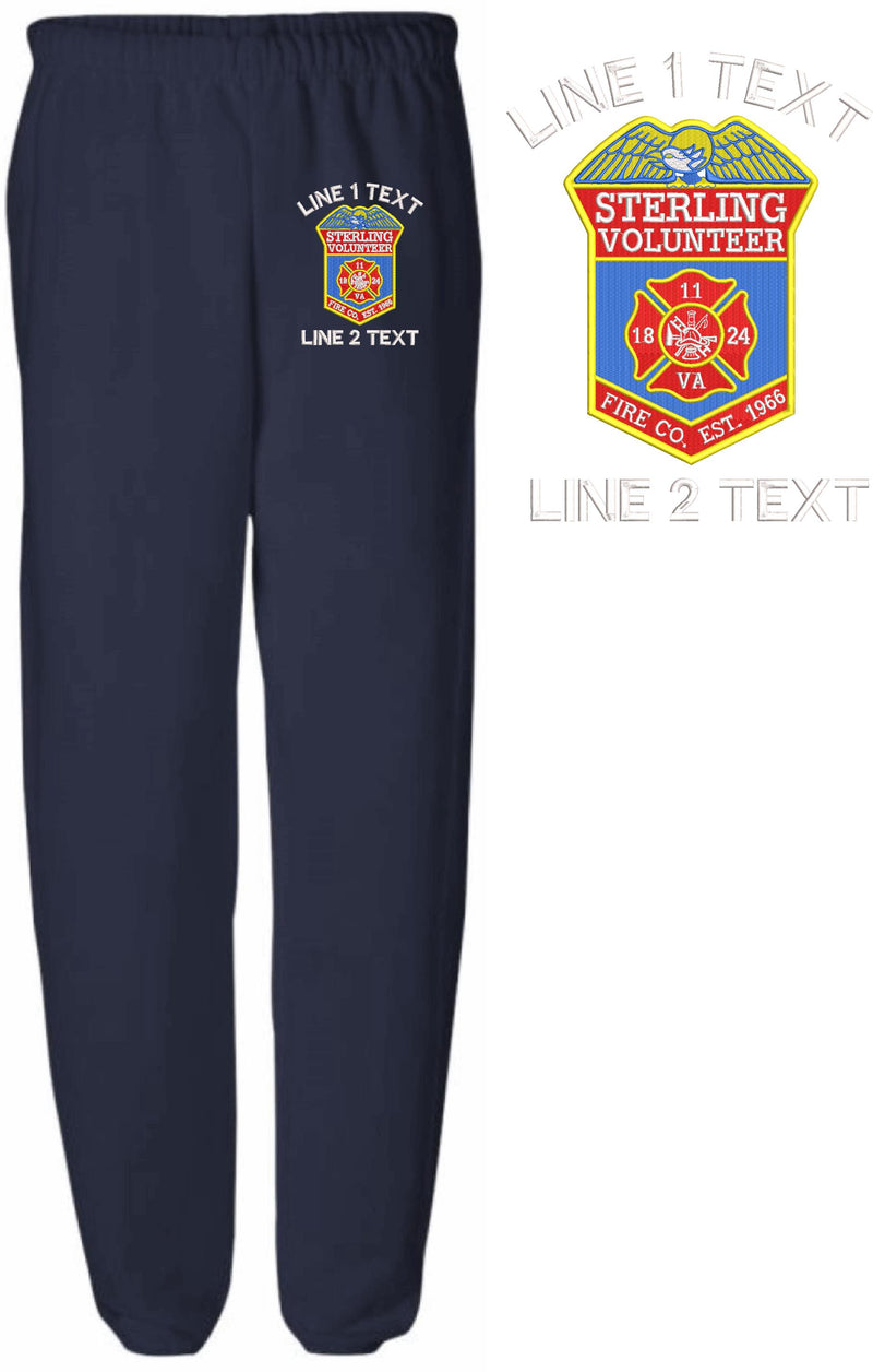 Sterling Volunteer Fire Embroidered Sweatpants - Powercall Sirens LLC