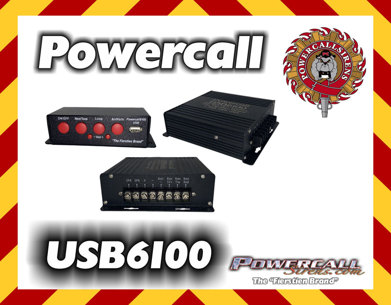 Powercall USB6100 MP3 100 Watt Amplifier - Powercall Sirens LLC