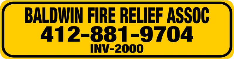 "Baldwin Fire Relief Larger Equipment Labels 3"" x 0.75"" - Powercall Sirens LLC"
