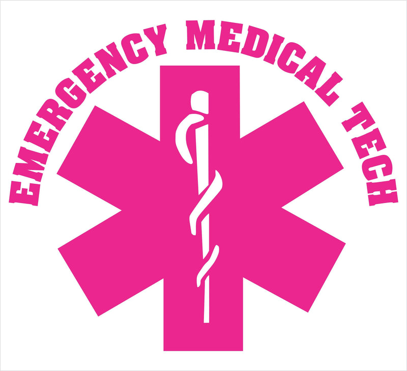 Emergency Medical Tech Pink Star Decal - Powercall Sirens LLC