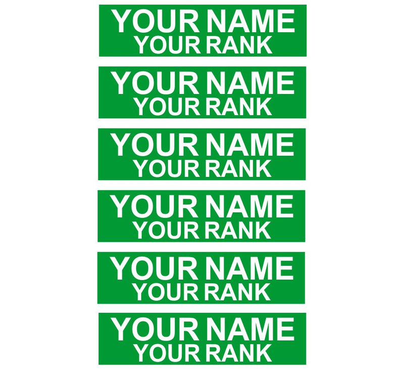Green w/ White Engraved Accountability Tags (6 Min.) - Powercall Sirens LLC