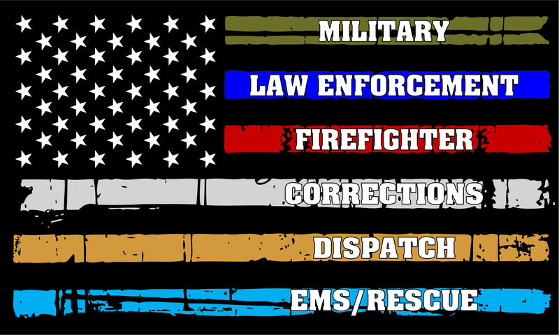 Police Fire Military, Corrections Distressed Flag Decal - Powercall Sirens LLC
