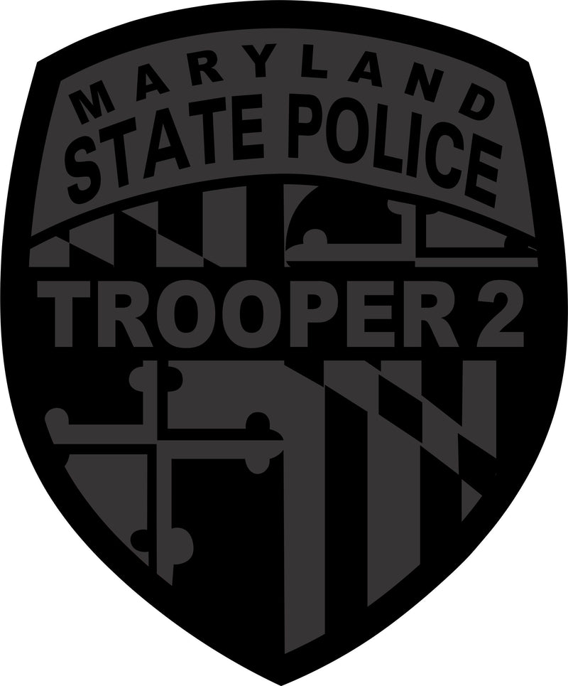 Maryland Trooper 2 Blacklite Reflective Decal - Powercall Sirens LLC