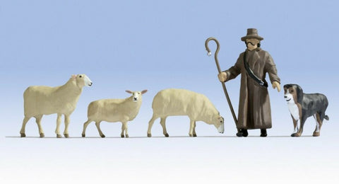 0 escala figuras modelismo trenes scenery Set Noch 17901 Sheep and sheperd