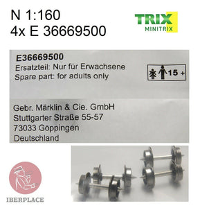 Minitrix Trix E-36669500 N escala 1:160 4x ruedas wheels Radsatz Räder roues Set