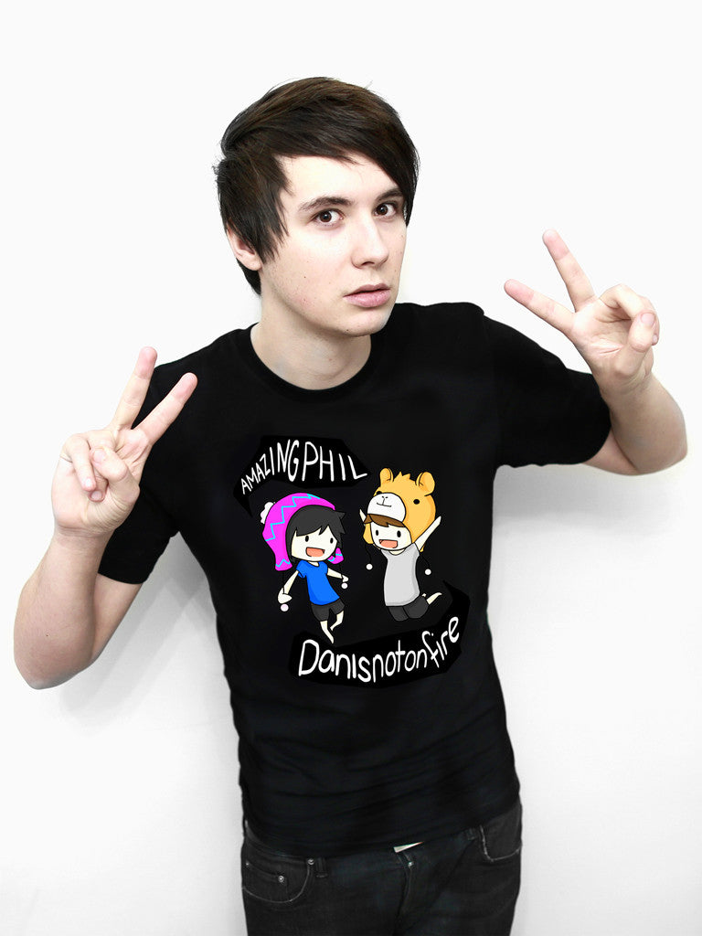 Black t shirt designs - Dan And Phil Classic Design T Shirt Black