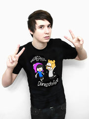 Dan and Phil Classic Design T-shirt (Black)