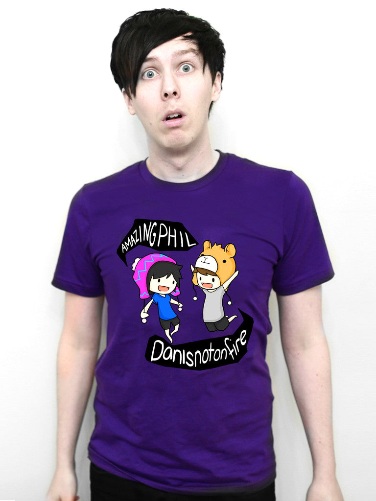 Dan and Phil Classic Design T-shirt (Purple)