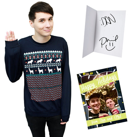 LIMITED Xmas Sweater - Navy + hand signed Christmas Card
