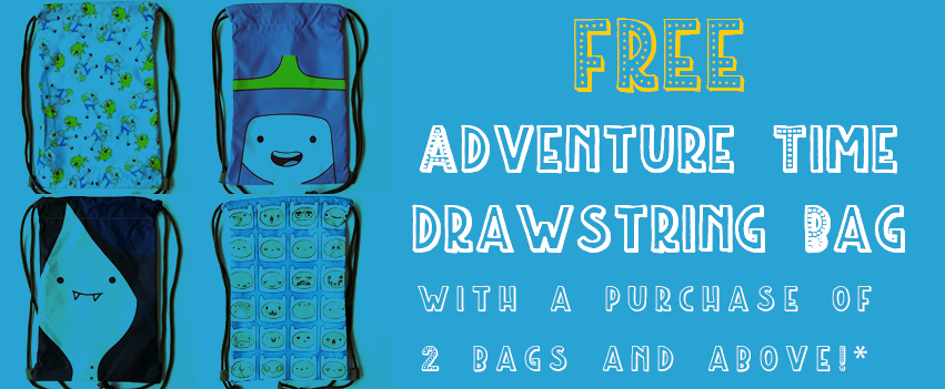 Cure your Monday Blues with a FREE Adventure Time Drawstring Bag!