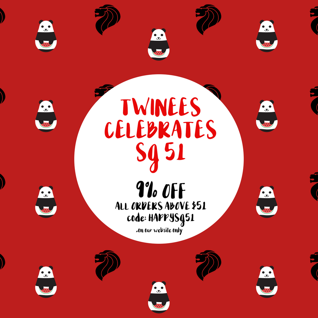 The Twinees Celebrates SG51 with 9% off ALL ORDERS above $51!