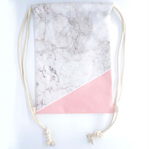 Pink Marblelicious Drawstring Bag - The Twinees