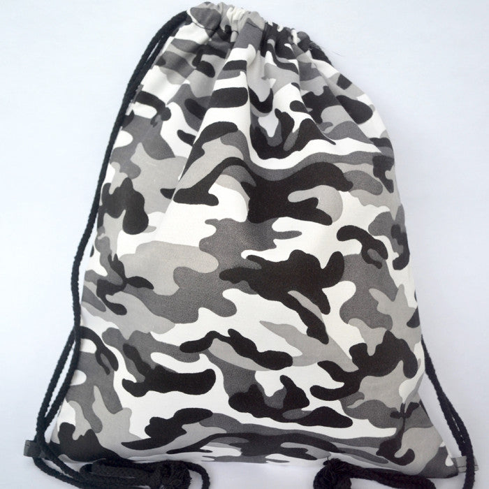 Camo Grey Drawstring Bag - The Twinees