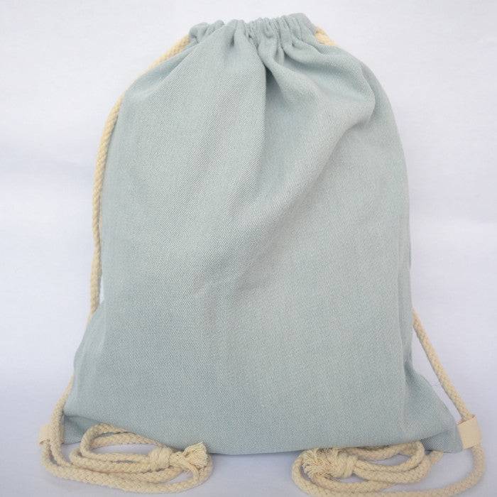 Light Blue Denim Drawstring Bag - The Twinees