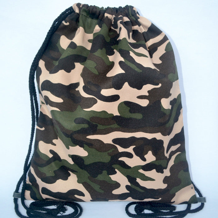 Camo Green Drawstring Bag - The Twinees