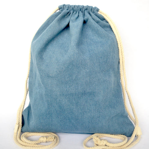 Dark Blue Denim Drawstring Bag - The Twinees
