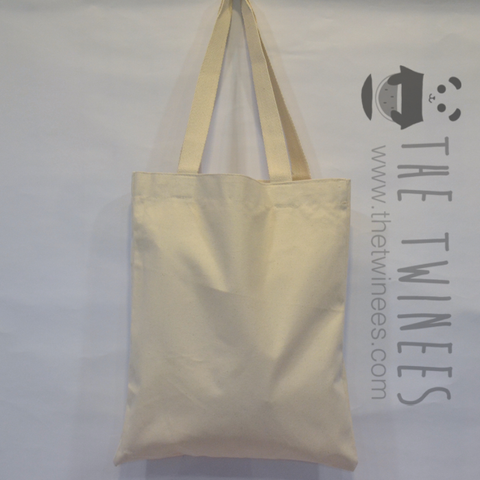 White Plain Canvas Tote Bag - The Twinees