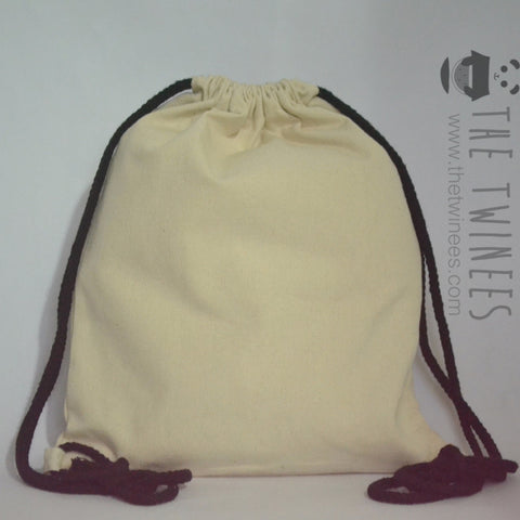 White with Black Straps Plain Canvas Drawstring Bag - The Twinees