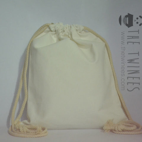 White Plain Canvas Drawstring Bag - The Twinees