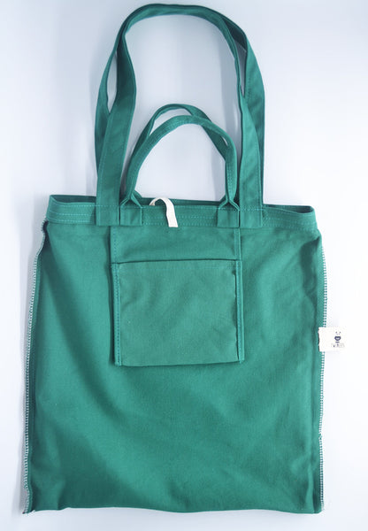 Green Canvas Carry Tote Bag (with 2 handles) - The Twinees
