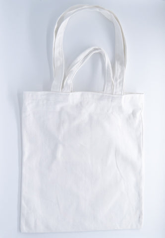 White Canvas Carry Tote Bag (with 2 handles) - The Twinees