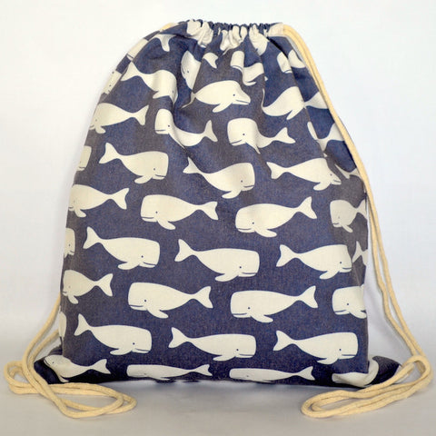 Dark Blue Swimming Whales Drawstring Bag - The Twinees