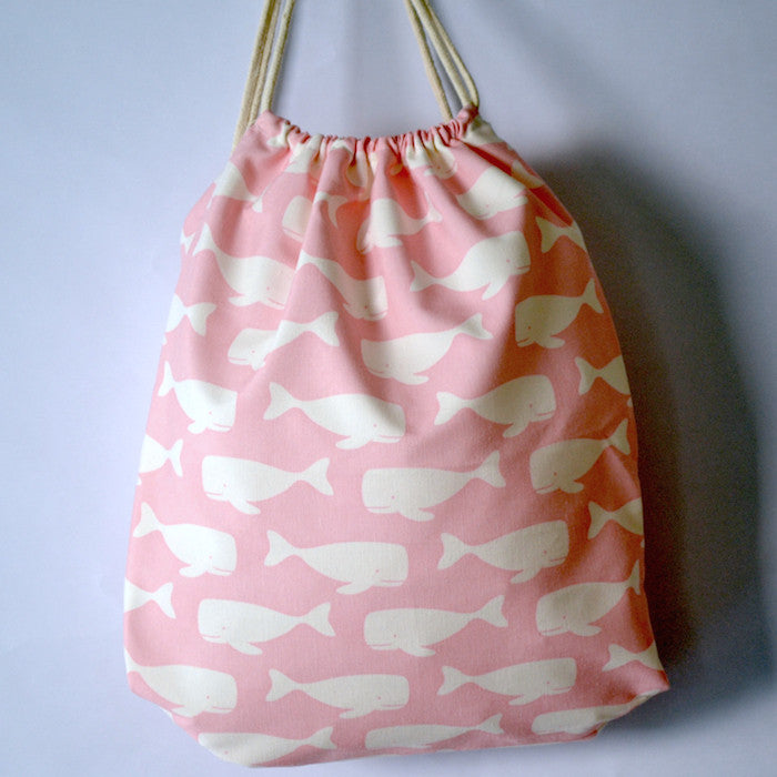 Pink Swimming Whales Drawstring Bag - The Twinees