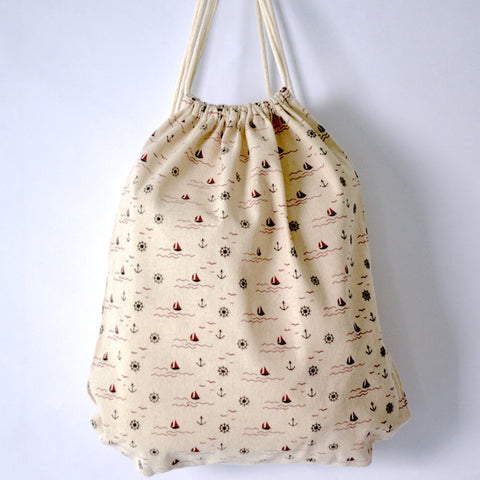 Nautical Patterned Drawstring Bag - The Twinees