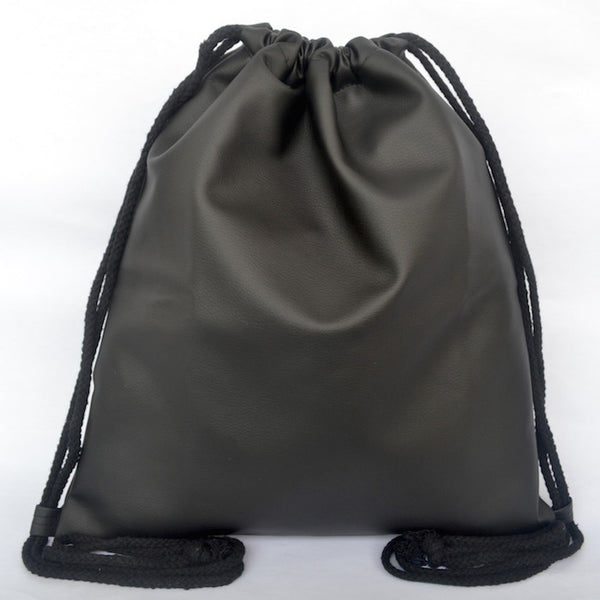 Black Pleather Drawstring Bag - The Twinees