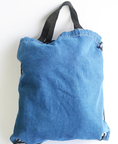 Dark Blue Denim Tote/Drawstring Bag (2 in 1) - The Twinees