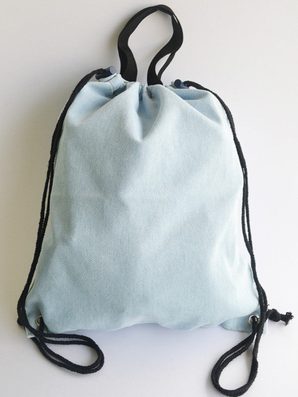 Light Blue Denim Tote/Drawstring Bag (2 in 1) - The Twinees