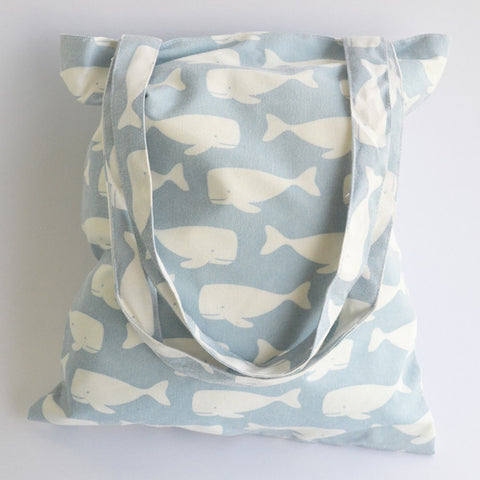 Light Blue Swimming Whales Tote Bag - The Twinees