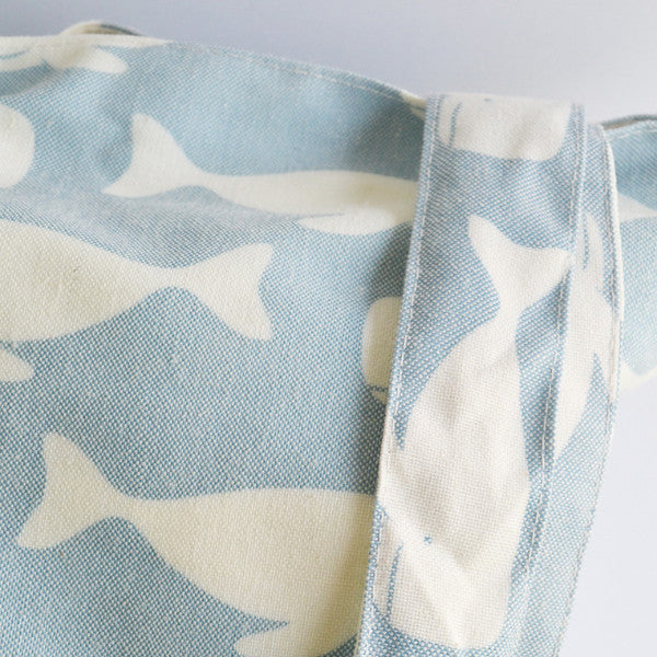 Light Blue Swimming Whales Tote Bag
