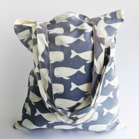 Dark Blue Swimming Whales Tote Bag - The Twinees