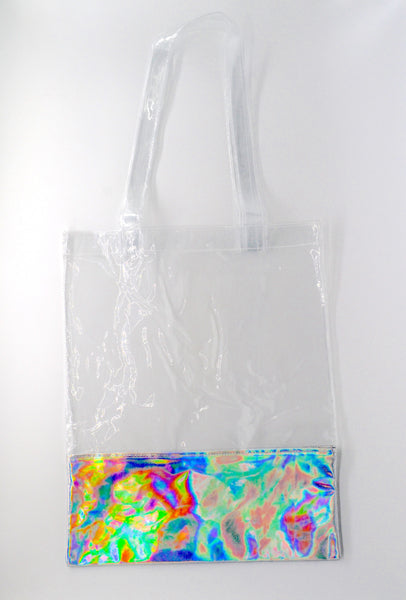 Clear + Silver Holographic Tote Bag