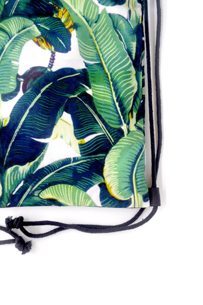 Tropical Leaves Drawstring Bag