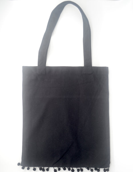 Black Pom Pom Tote Bag