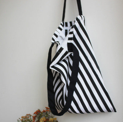 B&W Striped Tote Bag - The Twinees